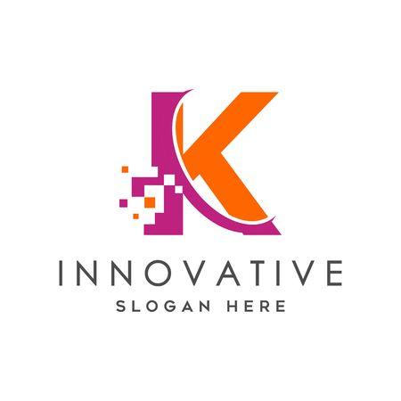 Digital Technology Letter K Logo