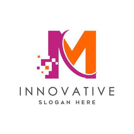 Digital Technology Letter M Logo