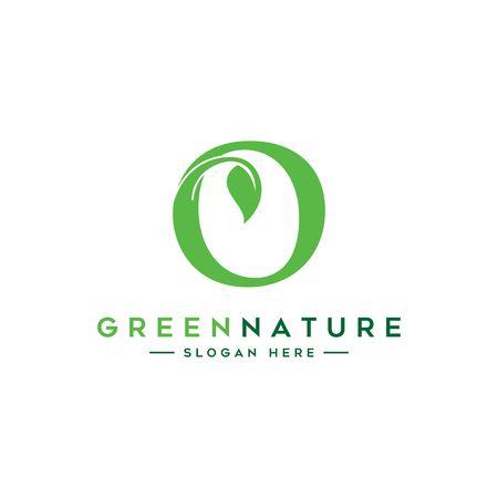 Initials O icon design, nature green leaf symbol Ilustração