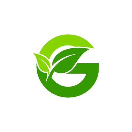 Letter G icon concept, nature green leaf symbol, initials G icon design.