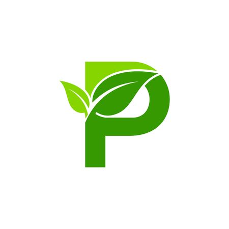 letter P concept, nature green leaf symbol, initials P icon design