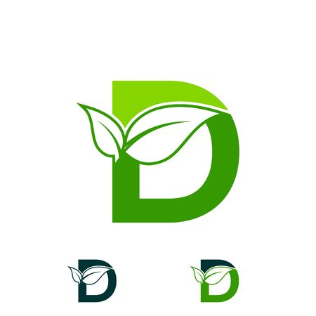 letter D logo concept, nature green leaf symbol, initials D icon design