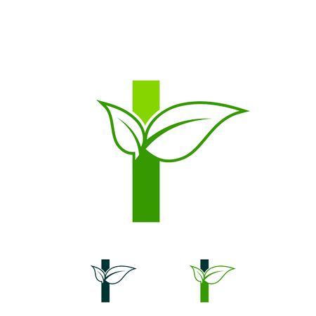 letter I logo concept, nature green leaf symbol, initials I icon design  イラスト・ベクター素材