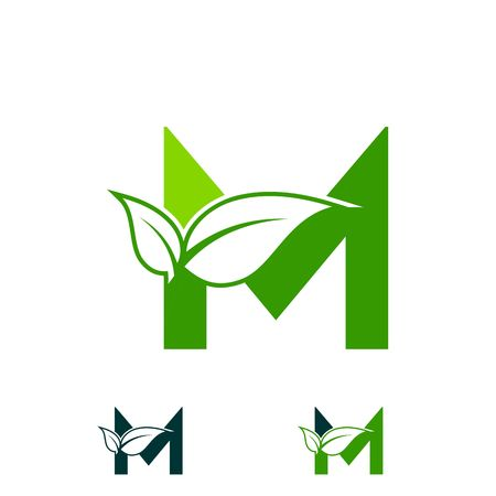 letter M logo concept, nature green leaf symbol, initials M icon design