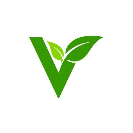letter V logo concept, nature green leaf symbol, initials V icon design Logó