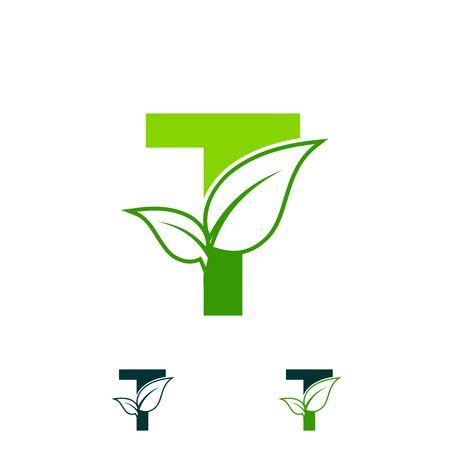 Concept de logo lettre T, symbole de feuille verte de nature, initiales conception icône T