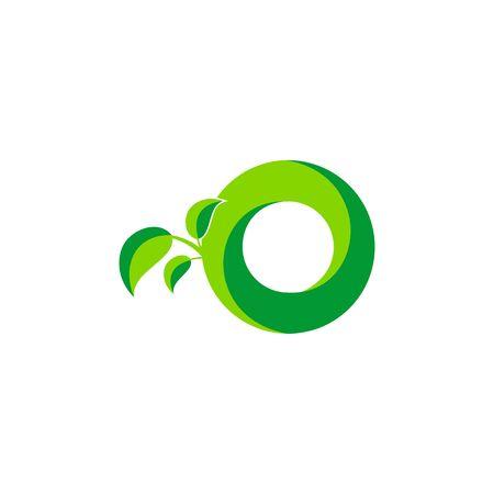 Nature green leaf symbol with initial O icon design. Ilustração