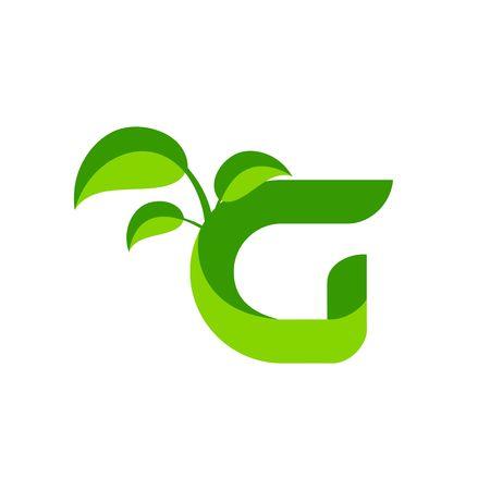Nature green leaf symbol with initial G icon design. Ilustração