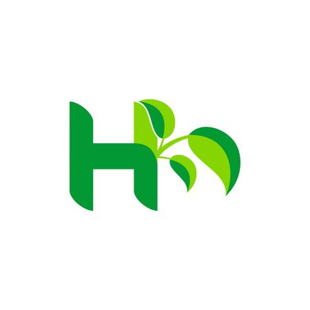 Nature green leaf symbol with initial H icon design.