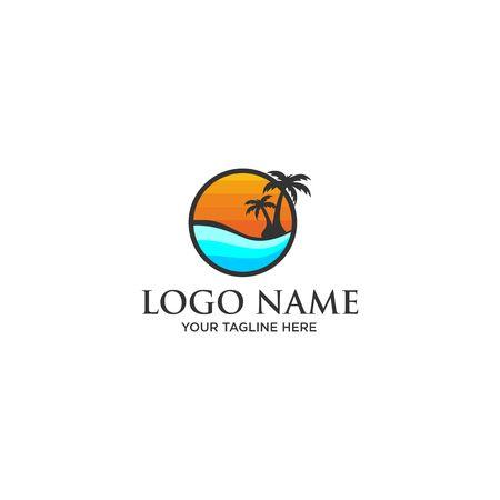 sun beach logo 일러스트