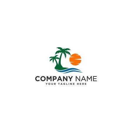 sun beach logo Illustration