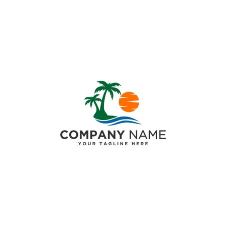 sun beach logo Ilustração
