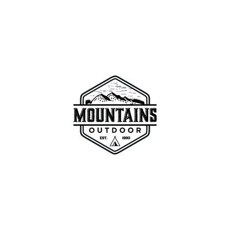 vintage camping and mountain logo vector