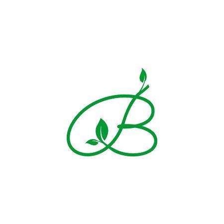 A concept logo leaf letter B, natural green leaf symbol, initials N icon design Ilustração