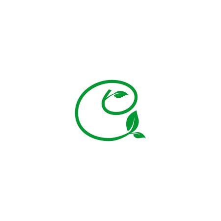 A concept logo leaf letter C, natural green leaf symbol, initials N icon design Ilustração