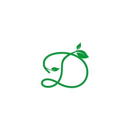 A concept logo leaf letter D, natural green leaf symbol, initials N icon design