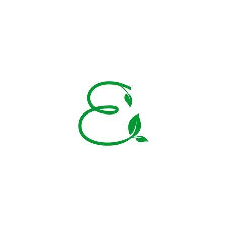 A concept logo leaf letter E, natural green leaf symbol, initials N icon design