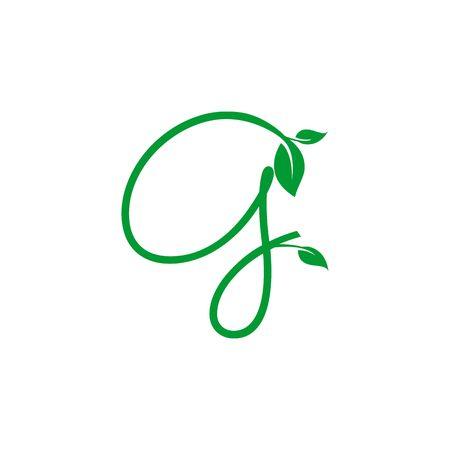 A concept logo leaf letter G, natural green leaf symbol, initials N icon design Ilustração