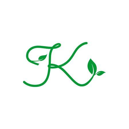 concept logo leaf letter K, natural green leaf symbol, initials  icon design