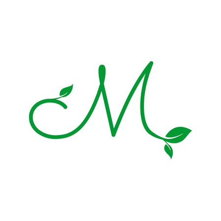 A concept logo leaf letter M, natural green leaf symbol, initials N icon design