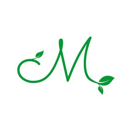 A concept logo leaf letter M, natural green leaf symbol, initials N icon design
