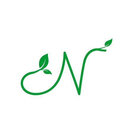Ein Konzeptlogo-Blattbuchstabe N, natürliches grünes Blattsymbol, Ikonendesign der Initialen N