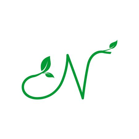 A concept logo leaf letter N, natural green leaf symbol, initials N icon design