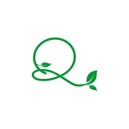 A concept logo leaf letter Q, natural green leaf symbol, initials N icon design