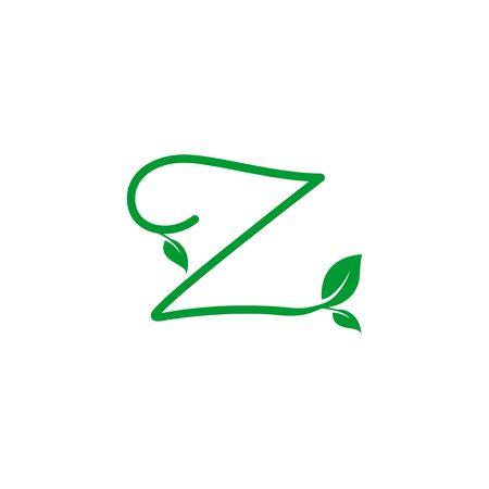 A concept logo leaf letter Z, natural green leaf symbol, initials N icon design