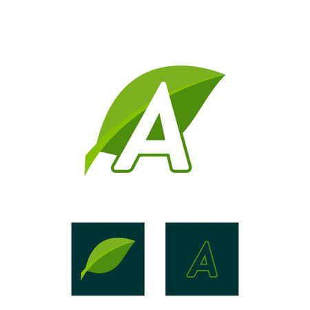A concept logo leaf letter A, natural green leaf symbol, initials N icon design