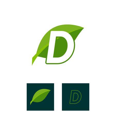 concept logo leaf letter D, natural green leaf symbol, initials  icon design