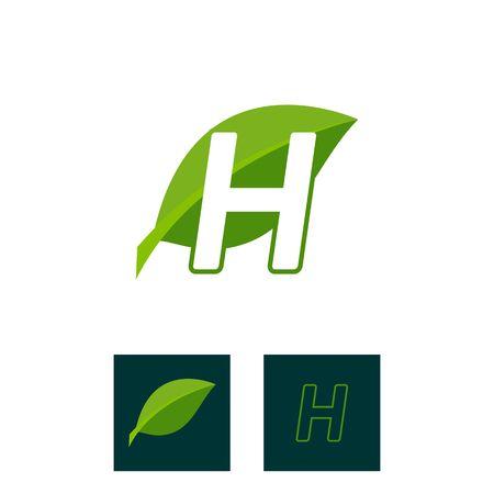 A concept logo leaf letter H, natural green leaf symbol, initials N icon design