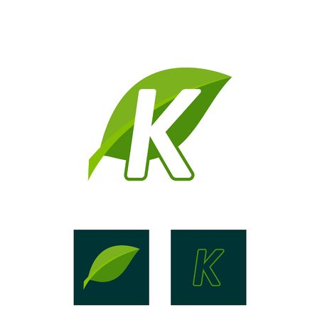 A concept logo leaf letter K, natural green leaf symbol, initials N icon design