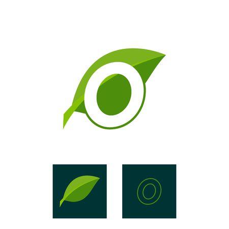 A concept logo leaf letter O, natural green leaf symbol, initials N icon design Ilustração