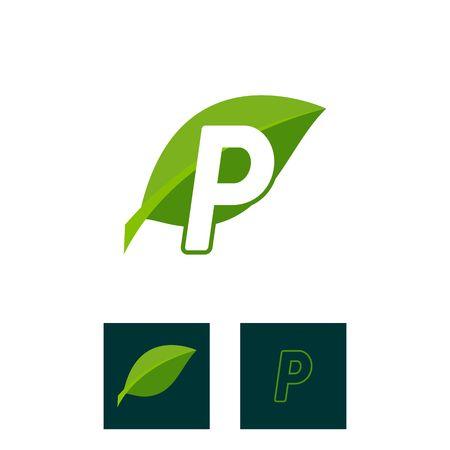 A concept logo leaf letter P, natural green leaf symbol, initials N icon design