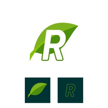 A concept logo leaf letter R, natural green leaf symbol, initials N icon design Ilustração