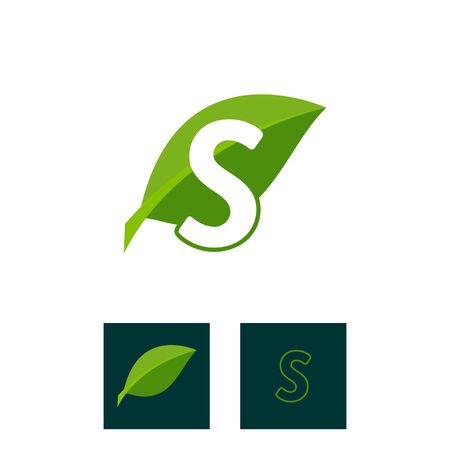 A concept logo leaf letter S, natural green leaf symbol, initials N icon design