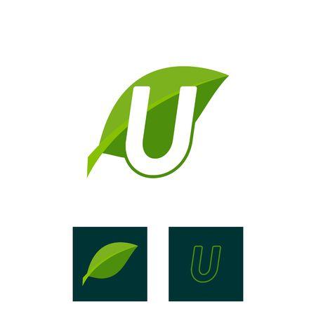 A concept logo leaf letter U, natural green leaf symbol, initials N icon design Ilustração