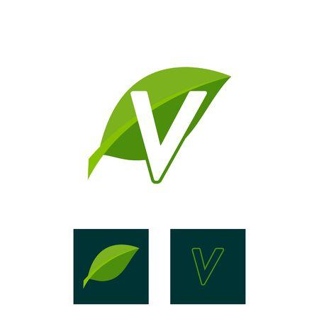 A concept logo leaf letter V, natural green leaf symbol, initials N icon design Ilustração