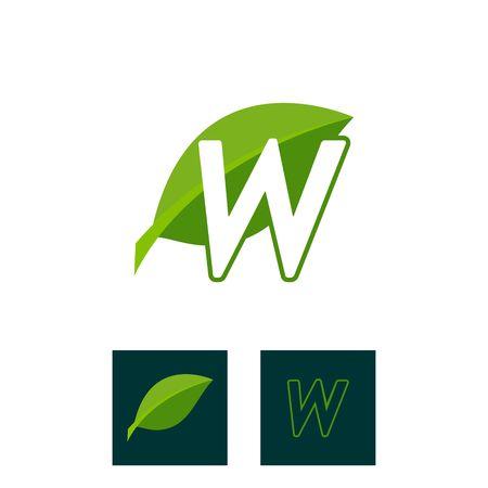 A concept logo leaf letter W, natural green leaf symbol, initials N icon design