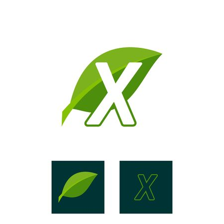A concept logo leaf letter X, natural green leaf symbol, initials N icon design