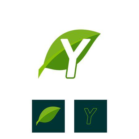 A concept logo leaf letter Y, natural green leaf symbol, initials N icon design Ilustração