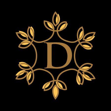 D letter vector logo template, luxury letter monogram vector logo design, Fashion brand identity  イラスト・ベクター素材