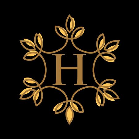 Modèle de logo vectoriel lettre H, création de logo vectoriel lettre monogramme de luxe, identité de marque de mode