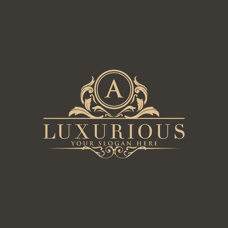 Logo herbów, logo hotelu, projektowanie logo wektorowego monogramu luksusowego listu, tożsamość marki modowej, szablon logo wektor
