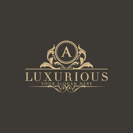 Logotipo de crestas, logotipo de hotel, diseño de logotipo de vector de monograma de carta de lujo, identidad de marca de moda, plantilla de logotipo de vector
