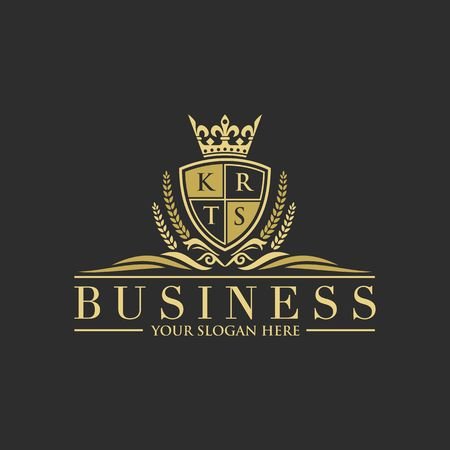 Luxury letters with crown business logo design. Illustration