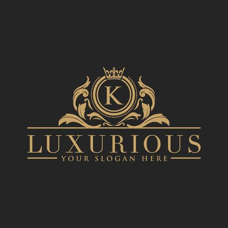 Luxury Logo template vector for Restaurant, Royalty, Boutique, Cafe, Hotel, Heraldic, Jewelry, Fashion and other vector illustration Imagens - 98014922