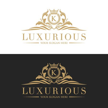 Luxury Logo template vector for Restaurant, Royalty, Boutique, Cafe, Hotel, Heraldic, Jewelry, Fashion and other vector illustration Imagens - 98014925