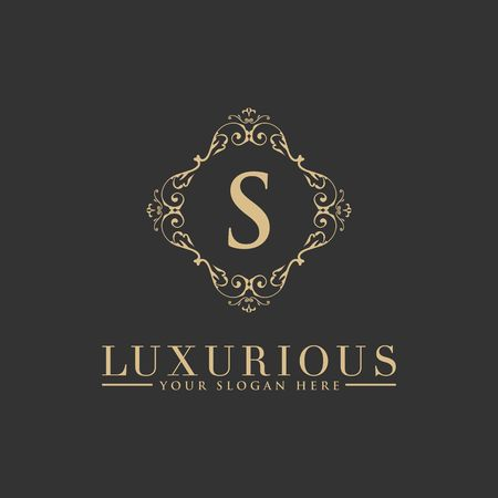 Luxury Logo template vector for Restaurant, Royalty, Boutique, Cafe, Hotel, Heraldic, Jewelry, Fashion and other vector illustration Imagens - 98014933